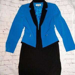Tahari size 10 blue skirt suit set